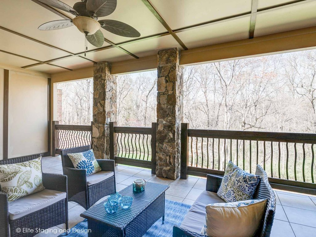 Elite Staging and Design outdoor living space covered porch with seating